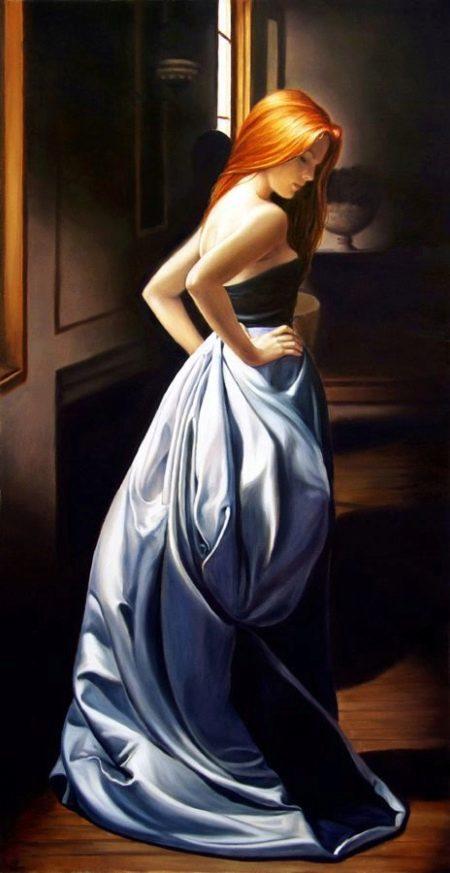 Сине-голубое платье