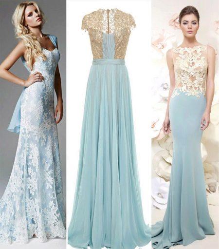 Голубые платья с золотым