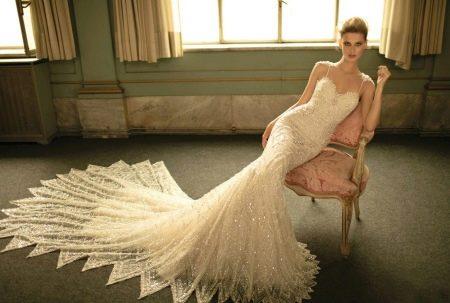Свадебное платье русалка на бретелях
