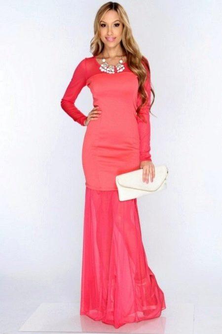 Неоново-розовое коралловое платье
