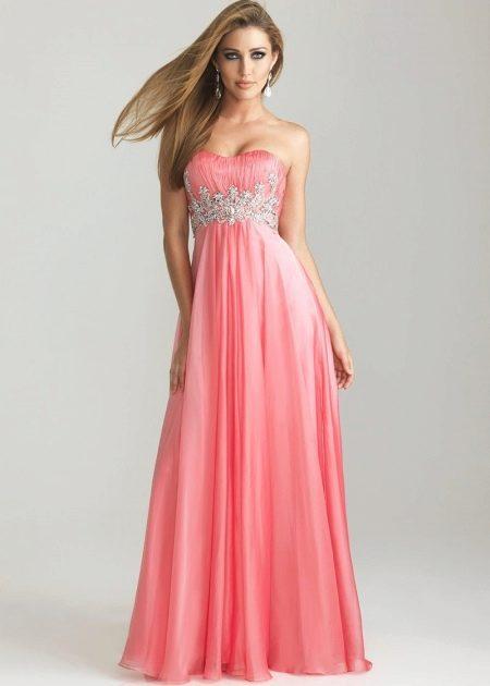 Перламутрово-розовое коралловое платье