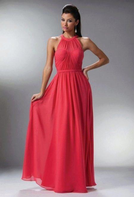 Коралловое платье с малиновым оттенком