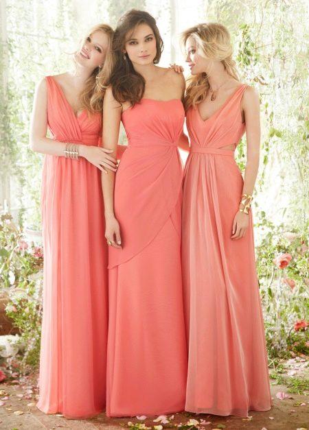 Коралловые платья для подружек невест