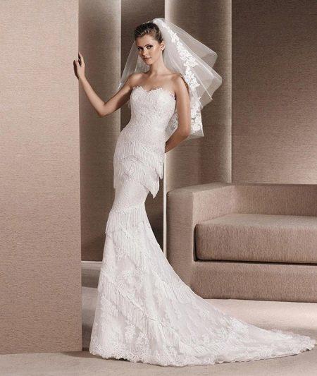 Свадебное платье русалка с бахромой