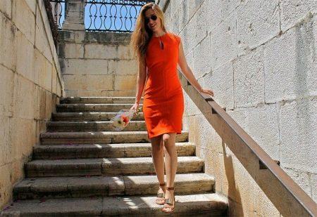 Туфли к оранжевому платью