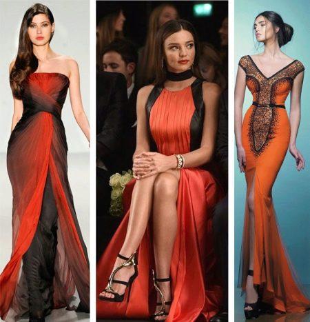 Черно-оранжевые платья