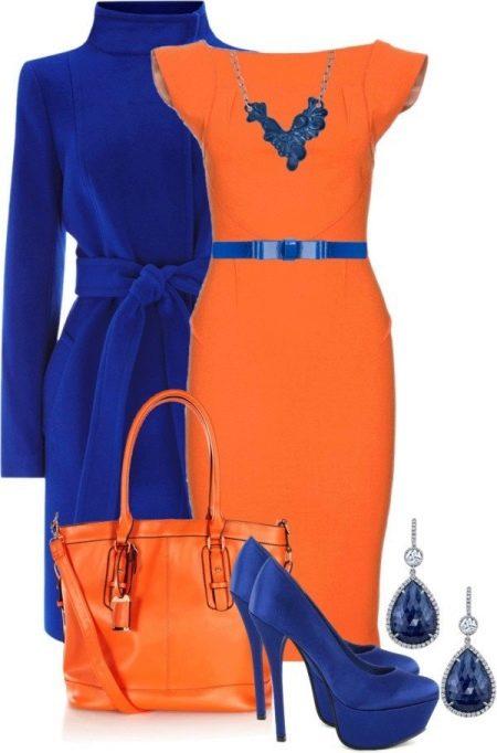 Оранжевое платье с синим