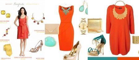 Аксессуары под оранжевое платье
