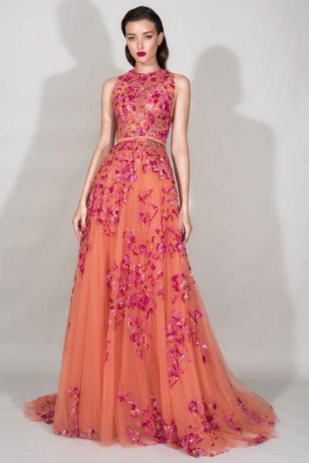 Оранжевое платье с розовым