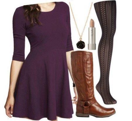 Баклажановое платье, коричневый и черный