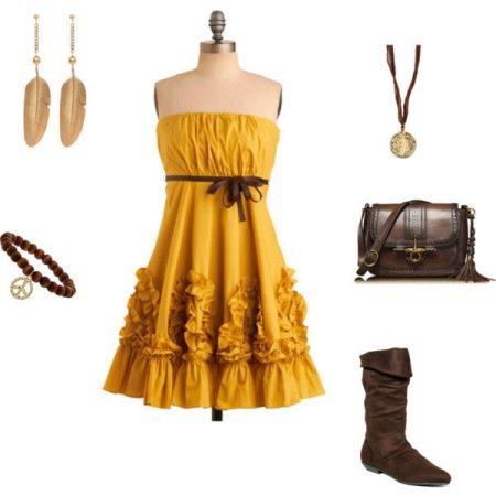 Горчичное платье с коричневым