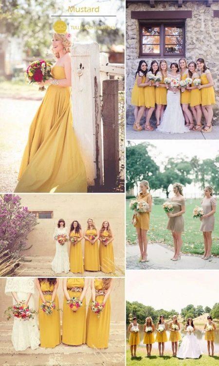 Платья горчичного цвета у подружек невесты