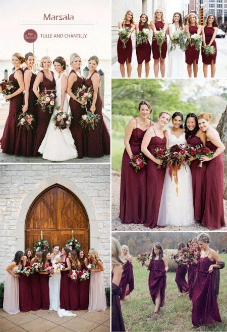 Цвет марсала в платьях подружек невесты
