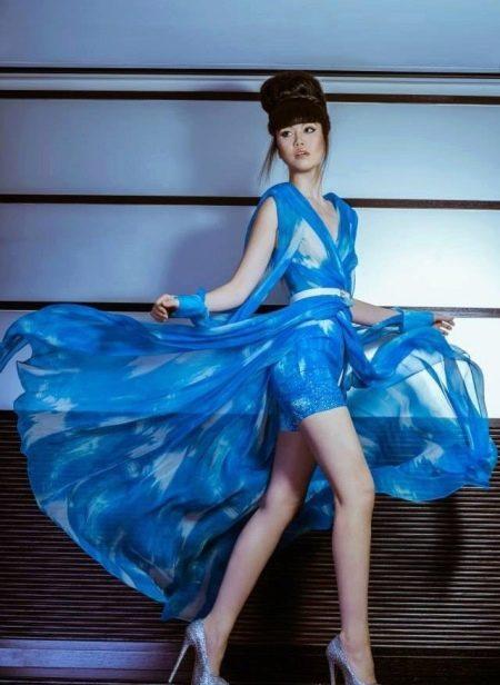 Сине-белое платье из шифона