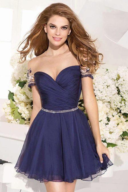 Пышное короткое платье из шифона