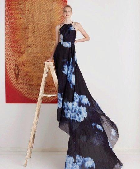 шифоновое платье со шлейфом