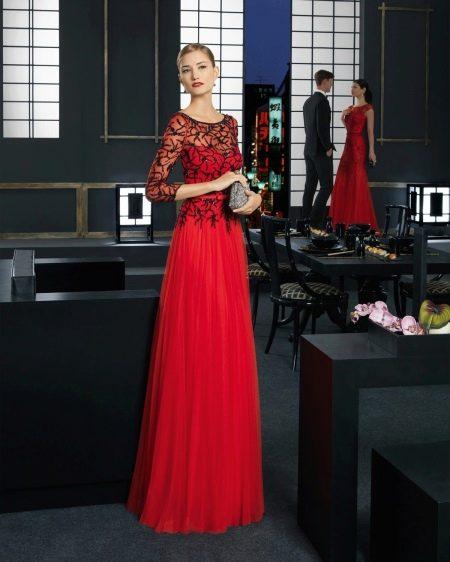 Вечернее платье с кружевом и шифоном
