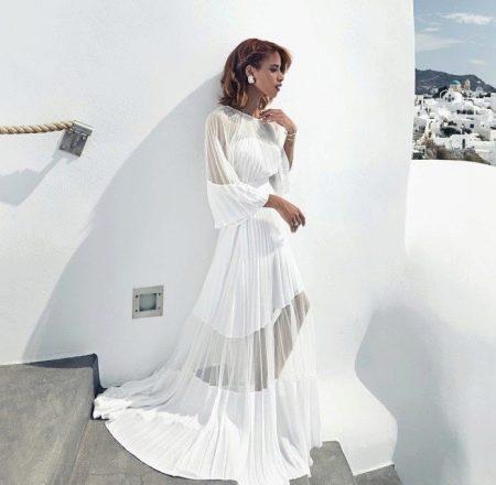 Белое платье из шифона