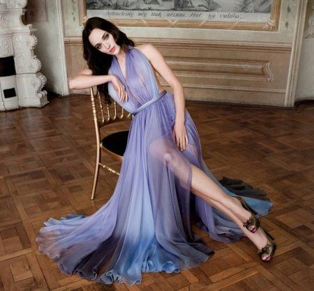 Шифоновое платье цветное
