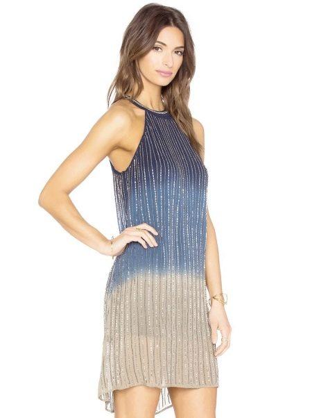 Серо-голубое платье