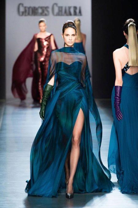 Темно-синее переливающееся платье
