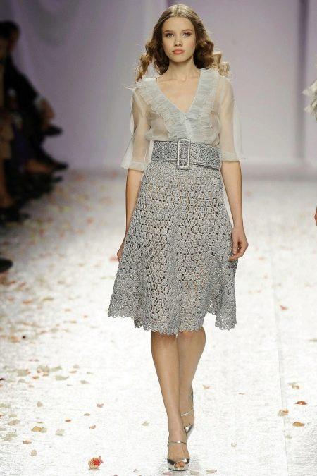 Платье с вязаной юбкой