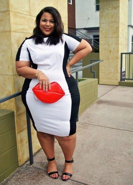 Черное-белое платье для полных девушек