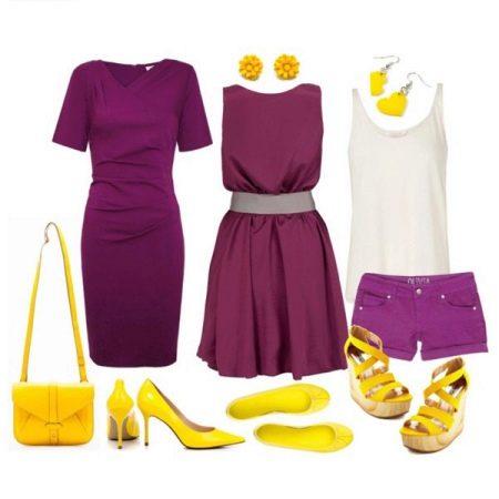 Фиолетовое платье с желтыми аксессуарами