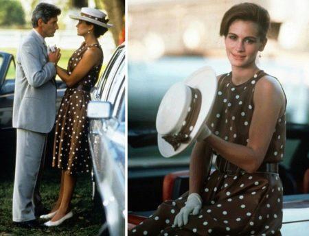 Коричневое платье в горошек Джулии Робертс - Красотка