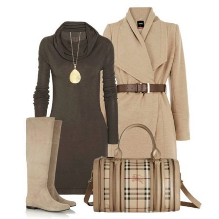 Бежевый и коричневое платье, аксессуары