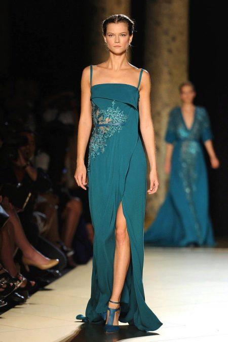Платье цвета морской волны от Эли Сааб