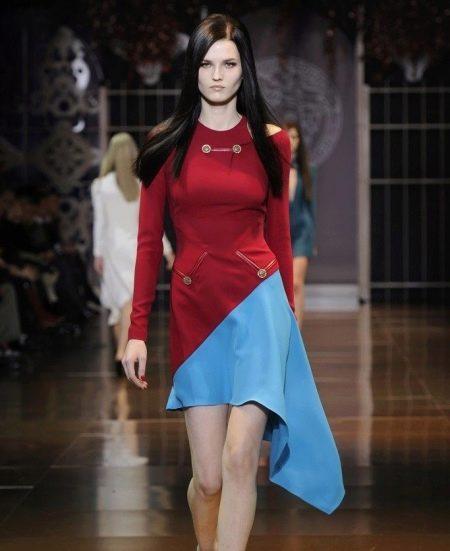 Платье двухцветное красно-голубое