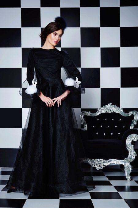 Вечернее черное платье из органзы