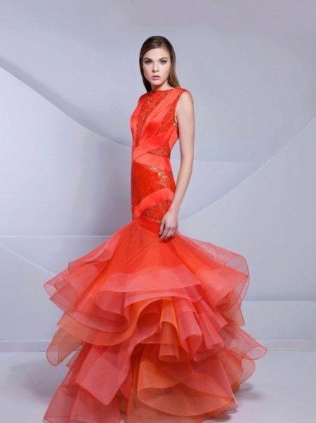 Вечернее красное платье из орагнзы