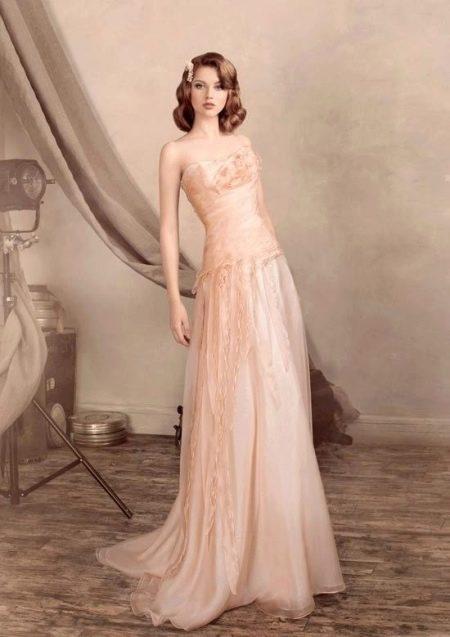 Персиковое платье свадебное