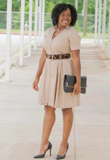 Платье с ремнем в стиле сафари для полных