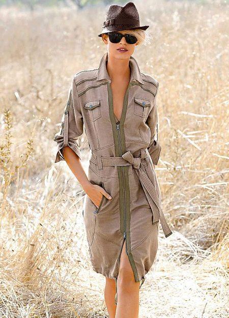 Платье-халат в стиле сафари