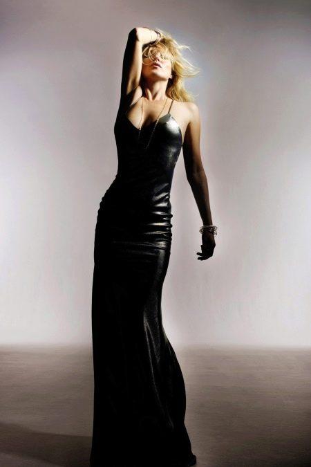 Кожаное платье на бретях