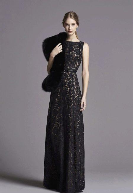 Кружевное платье с мехом в стиле Шанель