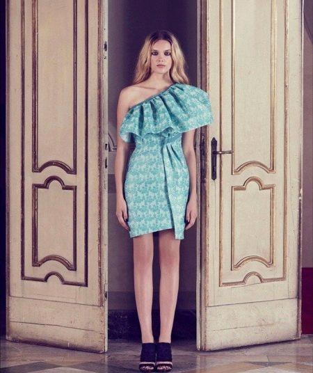 Коктельйное мятное платье