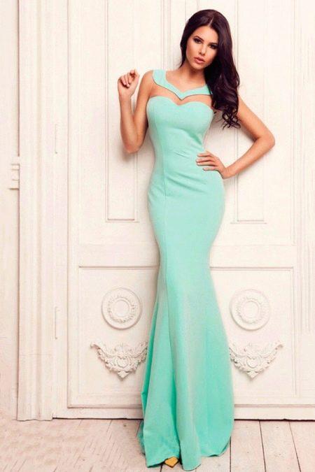 Платье мятного цвета в пол