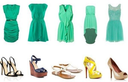 Платья мятного цвета: длинные в пол и короткие, аксессуары и макияж, сочетание с черным, туфли и маникюр