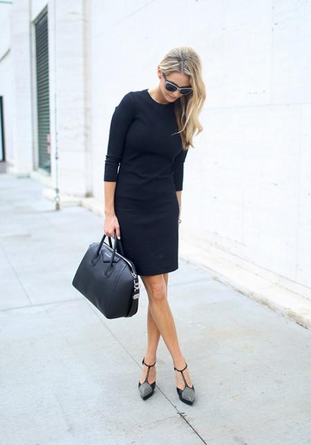 Черное платье в деловом стиле для работы в офисе и для деловых встреч