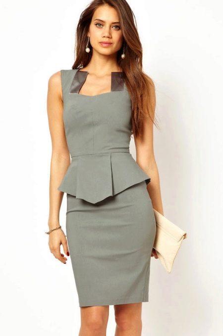 """Серое платье-футляр в деловом стиле для женщин с фигурой """"песочные часы"""""""