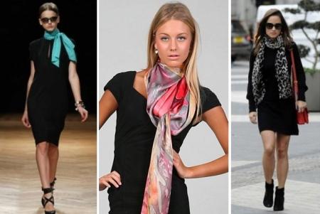 Платья в деловом стиле дополненные шейными шарфами