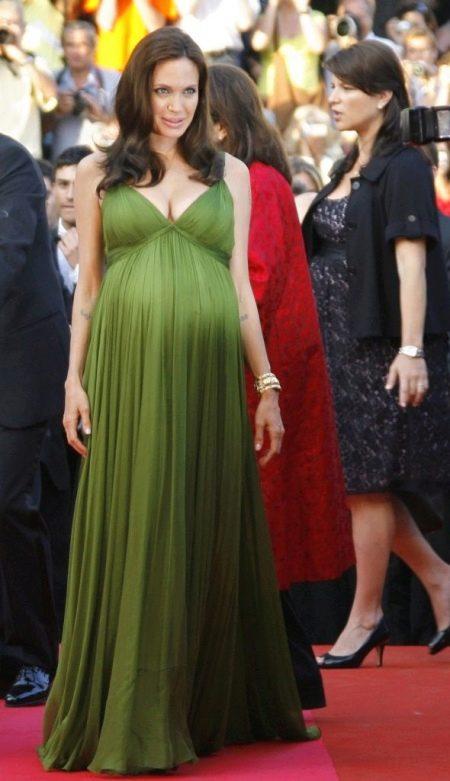 Греческое платье для беременных зеленое