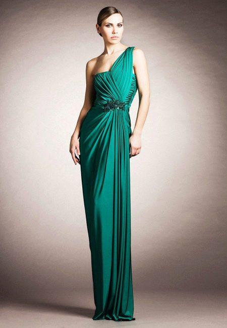 Зеленое греческое платье