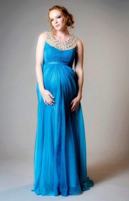 Греческое платье для беременных синее