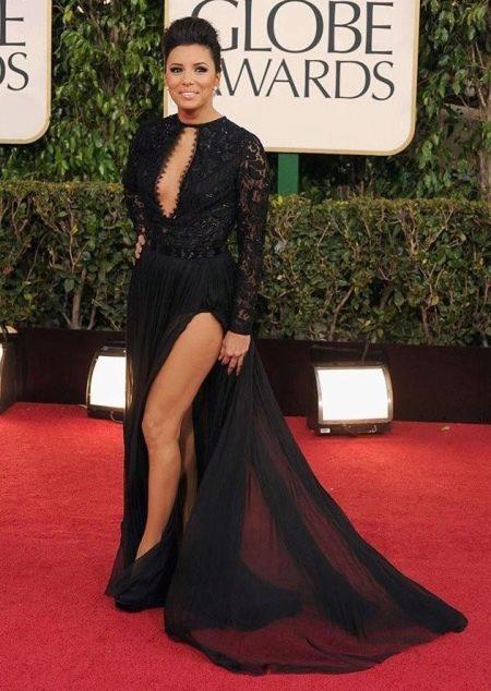 Черное максимально длинное платье