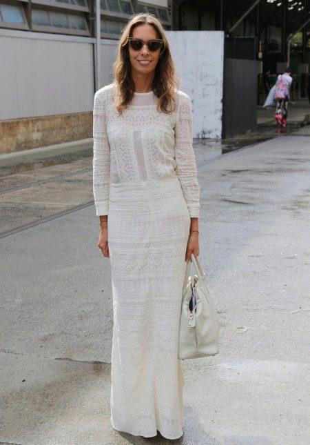 Хлопковое белое длинное платье